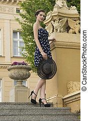 menina, moda, antigas, escadaria