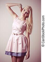 menina, moda, jovem, roupas