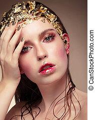 menina, moda, Retrato, luxo