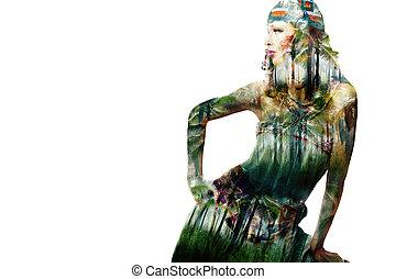 menina, moda, selva