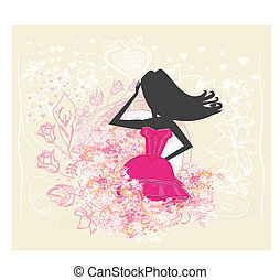 menina, moda, shopping, ilustração
