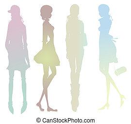 menina, moda, silueta