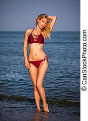 menina, modelo, praia arenosa, bonito