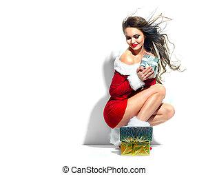 menina, modelo, scene., beleza, presentes, excitado, partido traje, natal, santa., vermelho, segurando, desgastar