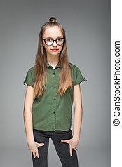 menina, modernos, óculos