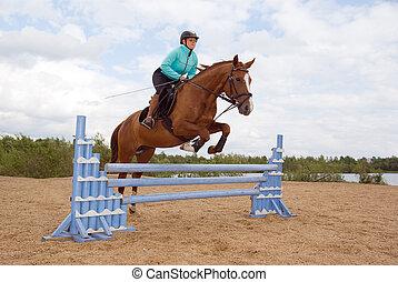 menina, montando, cavalo, e, pular