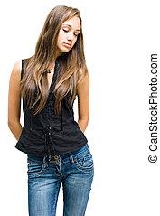 menina, morena, posar, jeans., deslumbrante, jovem