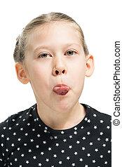 menina, mostra, língua