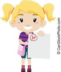 menina, mostrando, positivo, exame, dela