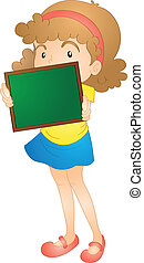 menina, mostrando, tábua