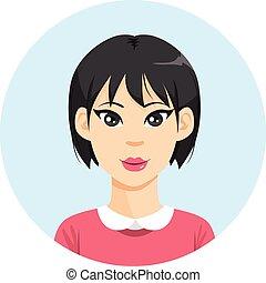 menina, mulher, asiático, avatar
