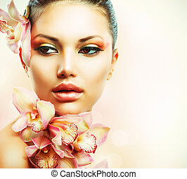 menina mulher, beleza, rosto, flowers., orquídea, bonito