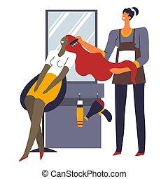 menina mulher, cabelo, beleza, cabeleireiras, escovar, salão