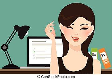 menina mulher, faça, online, teste, exames, problema, com,...