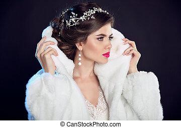 menina mulher, luxo, moda, makeup., pretas, diamante, modelo, inverno, isolado, jewelry., hairstyle., coat., branca, experiência., bonito, pele