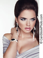 menina mulher, moda, beleza, portrait., profissional, accessories., foto, make-up., jóia, estúdio, bonito