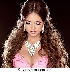 menina mulher, moda, portrait., pretas, fazer, modelo, isolado, hairstyle., deslumbrante, experiência., jóia, bonito, cima.