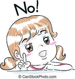 menina, não, dedo, criança, ponto