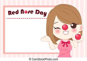menina, nariz, vermelho, dia