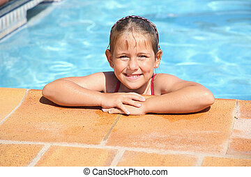 menina, natação, sorrindo, piscina, feliz
