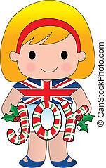 menina, natal, britânico