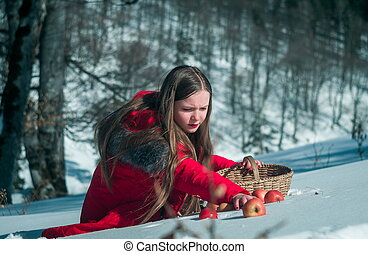 menina, neve, maçãs