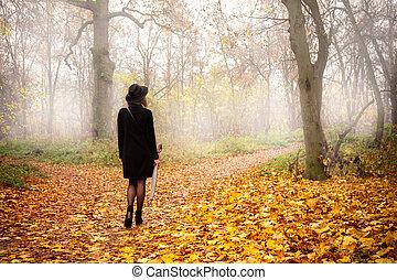 menina, nevoeiro, parque