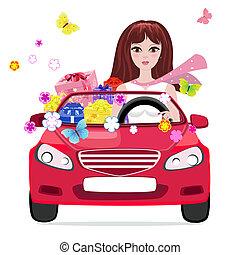 menina num carro, com, presentes