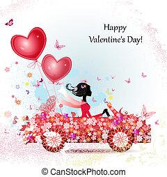 menina num carro, com, valentines