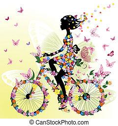 menina numa bicicleta, em, um, romanticos