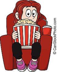 menina, observar, cinema