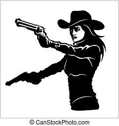 menina, ocidental, revólver