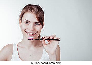 menina, odontologia, branca, escova de dentes, dentes