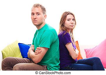 menina, ofendido, menino, sofá, lar