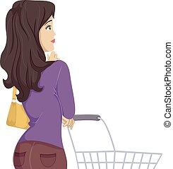 menina, opções, pensando, adolescente, mercearia