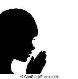 menina, orando, jovem