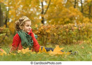 menina, outono, parque