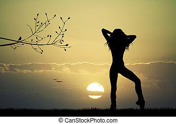 menina, pôr do sol, dançar