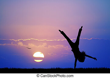 menina, pôr do sol, feliz