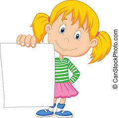 menina, papel, caricatura, segurando, em branco
