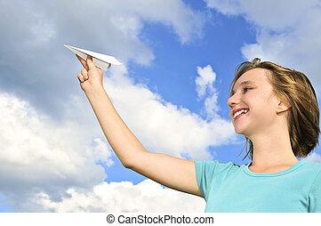 menina, papel, jovem, segurando, avião