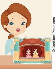 menina, papel, teatro, ilustração
