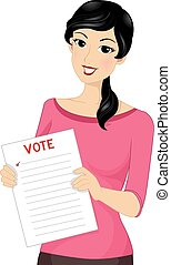 menina, papel, voto