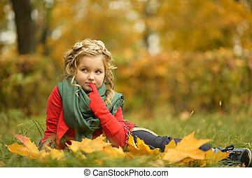 menina, parque, outono