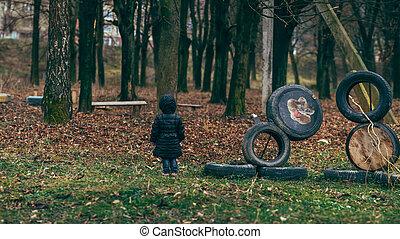 menina, parque, pátio recreio