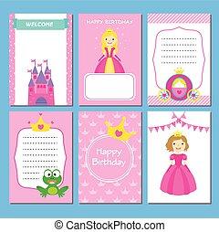 menina, partido aniversário, cartões