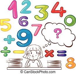 menina, pensando, aproximadamente, números