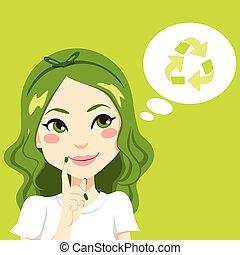 menina, pensando, verde