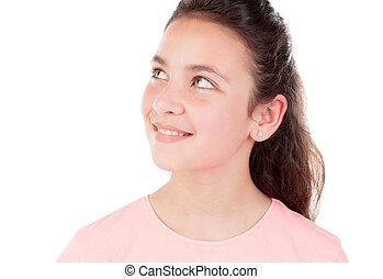 menina pequena bonita, com, olhos azuis