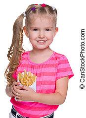 menina pequena sorrindo, com, frita